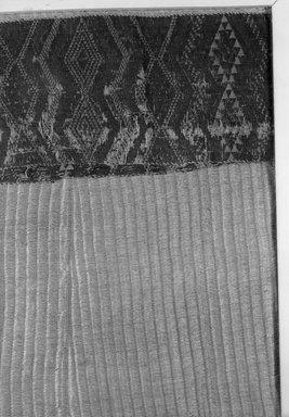 Maori. <em>Cloak (Kaitaka paepaeroa)</em>, pre 1835. Harakeke (Phormium tenax), wool, pigment, 85 1/4 x 52 3/4 in.  (216.5 x 134.0 cm). Brooklyn Museum, Gift of Frank Wood, 19.146. Creative Commons-BY (Photo: Brooklyn Museum, 19.146_detail2_acetate_bw.jpg)