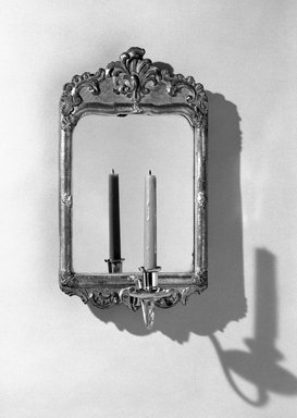 American. <em>Looking Glass</em>, ca. 1760. Glass, 16 1/2 x 9 1/2 in. (41.9 x 24.1 cm). Brooklyn Museum, Robert B. Woodward Memorial Fund, 19.152c. Creative Commons-BY (Photo: Brooklyn Museum, 19.152c_bw.jpg)