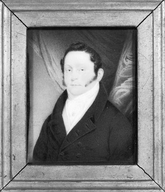 T.J.H.. <em>Portrait of John Skinner Griffen</em>, 1820. Watercolor on ivory portrait in gilt wood frame under glass, Image (sight): 3 1/2 x 2 3/4 in. (8.9 x 7 cm). Brooklyn Museum, Gift of Mrs. Griffin Welsh, 19.172 (Photo: Brooklyn Museum, 19.172_bw_SL1.jpg)