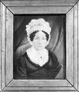T.J.H.. <em>Portrait of Mrs. John Skinner Griffen</em>, 1820. Watercolor on ivory portrait in gilt wood frame under glass, Image (sight): 3 7/16 x 2 3/4 in. (8.7 x 7 cm). Brooklyn Museum, Gift of Mrs. Griffin Welsh, 19.173 (Photo: Brooklyn Museum, 19.173_bw_SL1.jpg)