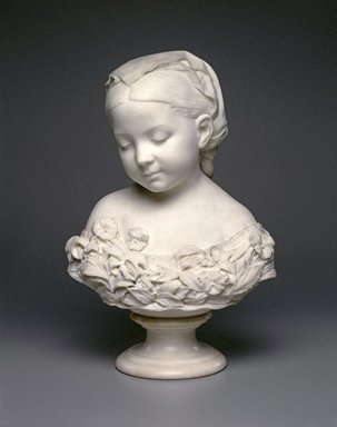 Thomas Ball (American, 1819-1911). <em>La Petite Pensée</em>, 1873. Marble, 19 5/16 x 12 3/16 x 7 1/2 in. (49.1 x 31 x 19.1 cm). Brooklyn Museum, Gift of the children of Elizabeth A. Mason, 19.182 (Photo: Brooklyn Museum, 19.182_SL1.jpg)
