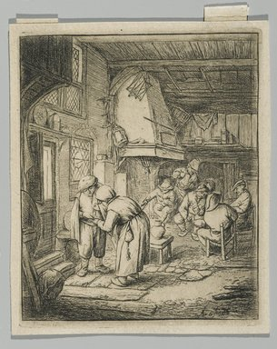 Adriaen van Ostade (Dutch, 1610-1685). <em>The Peasant Settling His Debt</em>, 1644?. Etching, sheet: 4 3/8 x 3 5/8 in. (11.1 x 9.2 cm). Brooklyn Museum, Gift of Mrs. Algernon Sydney Sullivan and George H. Sullivan, 19.184.13 (Photo: Brooklyn Museum, 19.184.13_PS2.jpg)