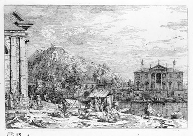 Giovanni Antonio Canal, called Canaletto (Italian, Venetian, 1697-1768). <em>Mercato Al Dolo (Top) and The Market on the Molo (Bottom)</em>. Etching (restrike), Sheet: 15 5/16 x 10 9/16 in. (38.9 x 26.8 cm). Brooklyn Museum, Gift of Mrs. Algernon Sydney Sullivan and George H. Sullivan, 19.184.25a-b (Photo: Brooklyn Museum, 19.184.25a_acetate_bw.jpg)