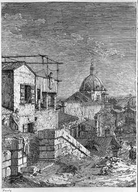 Giovanni Antonio Canal, called Canaletto (Italian, Venetian, 1697-1768). <em>The House with the Inscription (left half of Undivided Plate) and The House with the Peristyle (right half of Undivided Plate)</em>. Etching (restrike), Sheet (Left): 14 15/16 x 10 3/8 in. (38 x 26.4 cm). Brooklyn Museum, Gift of Mrs. Algernon Sydney Sullivan and George H. Sullivan, 19.184.27a-b (Photo: Brooklyn Museum, 19.184.27a_acetate_bw.jpg)