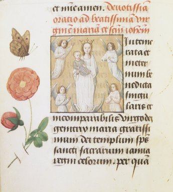 Flemish. <em>Horae Beatae Mariae Virginis</em>, ca. 1510-1530. Manuscript with opaque watercolor and ink with gold, 6 3/8 × 4 7/8 × 1 5/8 in. (16.2 × 12.4 × 4.1 cm). Brooklyn Museum, Bequest of Mary Benson, 19.74 (Photo: Brooklyn Museum, 19.74_page1_transp272.jpg)