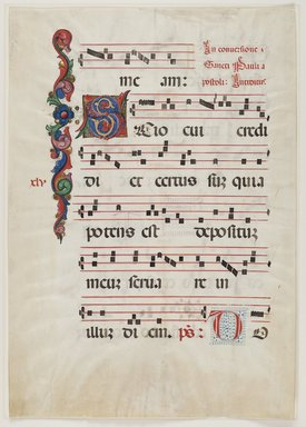 Unknown. <em>Antiphonarium (Sheet from Choir Book)</em>, first half of 15th century. Colored inks on vellum, 22 3/8 x 15 7/8in. (56.8 x 40.3cm). Brooklyn Museum, Bequest of Mary Benson, 19.79.1a-b (Photo: Brooklyn Museum, 19.79.1a_PS2.jpg)