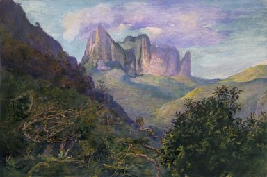 John La Farge (American, 1835-1910). <em>Diadem Mountain at Sunset, Tahiti</em>, 1891. Transparent and opaque watercolor, resin, on paper, 16 3/4 x 22 1/4 in. (42.5 x 56.5 cm). Brooklyn Museum, Gift of Frank L. Babbott, 19.80 (Photo: Brooklyn Museum, 19.80_cropped_SL1.jpg)