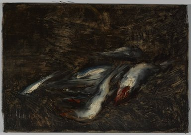 Antoine Vollon (French, 1833-1900). <em>Fish</em>, 1871-1875. Oil on canvas, 12 7/8 x 18 3/8 in. (32.7 x 46.7 cm). Brooklyn Museum, Gift of William A. Putnam and Walter H. Crittenden, 19.86 (Photo: Brooklyn Museum, 19.86_after_treatment_PS9.jpg)