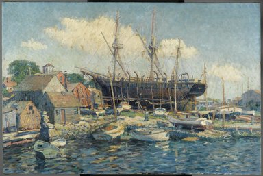 Clifford Warren Ashley (American, 1881-1947). <em>A Whaleship on the Marine Railway at Fairhaven</em>, 1916. Oil on canvas, 36 1/4 x 54 5/16 in.  (92.0 x 138.0 cm). Brooklyn Museum, Gift of Robert C. Murphy, 19.91 (Photo: Brooklyn Museum, 19.91_PS2.jpg)