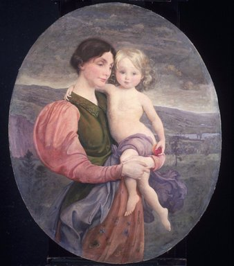 George de Forest Brush (American, 1855-1941). <em>Mother and Child: A Modern Madonna</em>, 1919. Oil on canvas, 43 1/2 x 35 5/8 in. (110.5 x 90.5 cm). Brooklyn Museum, Museum Collection Fund and by subscription, 19.93 (Photo: Brooklyn Museum, 19.93_transp3194.jpg)