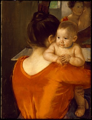 Mary Cassatt (American, 1844-1926). <em>Woman in a Red Bodice and Her Child</em>, ca. 1901. Oil on canvas, 27 x 20 1/4 in. (68.6 x 51.4 cm). Brooklyn Museum, Carll H. de Silver Fund, 19.95 (Photo: , 19.95_SL3.jpg)