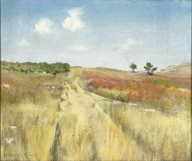 William Merritt Chase (American, 1849-1916). <em>Shinnecock Hills</em>, ca. 1895. Pastel on commercially pre-primed canvas, with hand-applied gray ground, attached to a wooden strectcher, 20 x 24 in. (50.8 x 61 cm). Brooklyn Museum, Gift of William A. Putnam, 19.96 (Photo: Brooklyn Museum, 19.96_SL1.jpg)