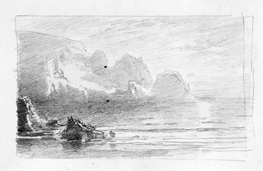 William Trost Richards (American, 1833-1905). <em>Sketchbook</em>. Pencil on paper, 4 15/16 x 8 x 9/16 in. (12.5 x 20.4 x 1.5 cm). Brooklyn Museum, Gift of Edith Ballinger Price, 75.15.9 (Photo: Brooklyn Museum, 1975.15.9_view11_bw.jpg)