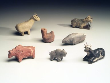 Hopi-Tewa Pueblo. <em>Standing Buffalo</em>, 20th century. Clay, paint, 2 1/2 x 1 1/4 in. (6.4 x 3.2 cm). Brooklyn Museum, Anonymous gift, 1989.10.6. Creative Commons-BY (Photo: Brooklyn Museum, 1989.10.6_1989.10.7_1989.10.3_1989.10.11_1989.10.1_1989.10.10_1989.10.12.jpg)