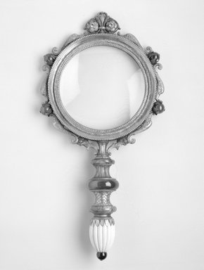 GZ. <em>Magnifying Glass</em>, ca. 1870-1900. Gold, glass, semi-precious stones, ivory, 15 x 7 11/16 x 1 7/8 in. Brooklyn Museum, Bequest of Marie Bernice Bitzer, 1989.104.1. Creative Commons-BY (Photo: Brooklyn Museum, 1989.104.1_bw.jpg)
