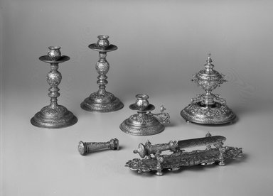 A. Batsche. <em>Inkstand</em>, 1885-1886. Gilt metal, glass, Height: 7 3/4 in. Brooklyn Museum, Bequest of Marie Bernice Bitzer, 1989.104.11. Creative Commons-BY (Photo: , 1989.104.5-.11_bw.jpg)