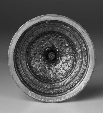 A. Batsche. <em>Candlestick</em>, ca. 1885-1886. Gilt metal, Height: 8 1/2 in. Brooklyn Museum, Bequest of Marie Bernice Bitzer, 1989.104.5. Creative Commons-BY (Photo: Brooklyn Museum, 1989.104.5_bottom_bw.jpg)
