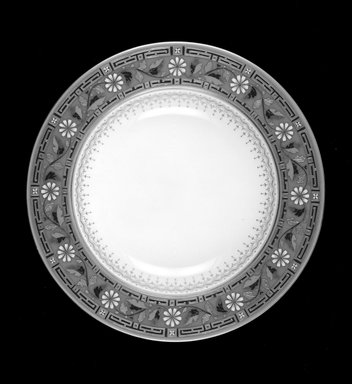 Minton (founded 1796). <em>Soup Plate</em>, ca. 1872. Porcelain with gilt and enamel decoration, Diameter: 10 1/16 in., height: 1 1/8 in. Brooklyn Museum, Gift of Daniel Morris and Denis Gallion, 1989.108. Creative Commons-BY (Photo: Brooklyn Museum, 1989.108_bw.jpg)