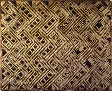 Kuba (Shoowa subgroup). <em>Raffia Cloth Panel Marked D43</em>, 20th century. Raffia, 25 9/16 x 20 1/2 in. (65.0 x 52.0 cm). Brooklyn Museum, Gift of The Roebling Society, 1989.11.1. Creative Commons-BY (Photo: Brooklyn Museum, 1989.11.1.jpg)
