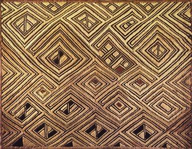 Kuba (Shoowa subgroup). <em>Raffia Cloth Panel Marked D56</em>, 20th century. Raffia, 19 11/16 x 25 9/16 in. (50 x 64.9 cm). Brooklyn Museum, Gift of The Roebling Society, 1989.11.3. Creative Commons-BY (Photo: Brooklyn Museum, 1989.11.3.jpg)