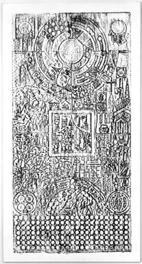 Matt Mullican (American, born 1951). <em>Untitled</em>, 1984. Oilstick on paper on canvas, 104 x 56 in. Brooklyn Museum, John B. Woodward Memorial Fund, 1989.116. © artist or artist's estate (Photo: Brooklyn Museum, 1989.116_bw.jpg)