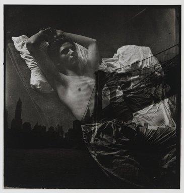 Edmund Teske (American, 1911-1996). <em>Jim Sullivan and Brooklyn Bridge</em>, ca. 1934. Gelatin silver photograph, 10 x 7 15/16in. (25.4 x 20.2cm). Brooklyn Museum, Carll H. de Silver Fund, 1989.137. © artist or artist's estate (Photo: Brooklyn Museum, 1989.137_PS1.jpg)