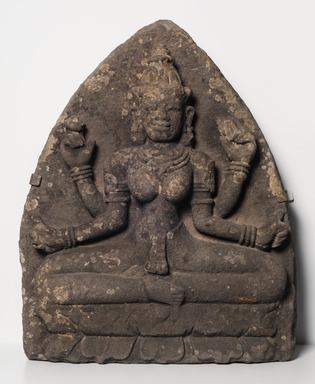 Cham. <em>Goddess Sri</em>, 10th century. Grey sandstone, 32 x 24 1/2 x 10 1/2 in. Brooklyn Museum, Gift of R.H. Ellsworth Ltd., 1989.147. Creative Commons-BY (Photo: Brooklyn Museum, 1989.147_PS11.jpg)