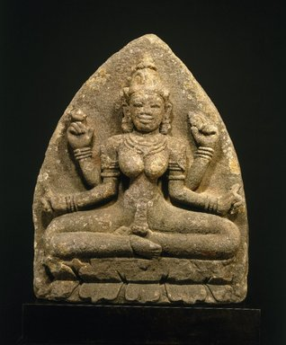Cham. <em>Goddess Sri</em>, 10th century. Grey sandstone, 32 x 24 1/2 x 10 1/2 in. Brooklyn Museum, Gift of R.H. Ellsworth Ltd., 1989.147. Creative Commons-BY (Photo: Brooklyn Museum, 1989.147_SL1.jpg)