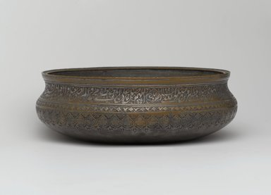 <em>Bowl</em>, 1697. Tinned copper inlaid with black composites, Height: 5 in. (12.7 cm). Brooklyn Museum, Gift of Mrs. Charles K. Wilkinson in memory of her husband, 1989.149.5. Creative Commons-BY (Photo: Brooklyn Museum, 1989.149.5_PS2.jpg)