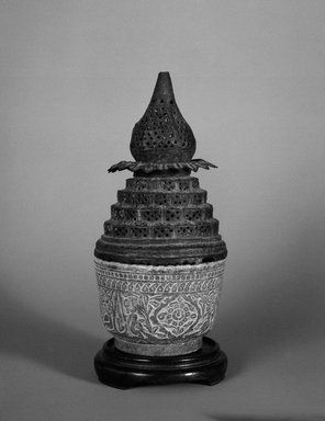<em>Incense Burner</em>, ca. 18th century. Bronze and stone, Height: 7 in. Brooklyn Museum, Gift of Mrs. Charles K. Wilkinson in memory of her husband, 1989.149.6a-d. Creative Commons-BY (Photo: Brooklyn Museum, 1989.149.6a-d_bw.jpg)