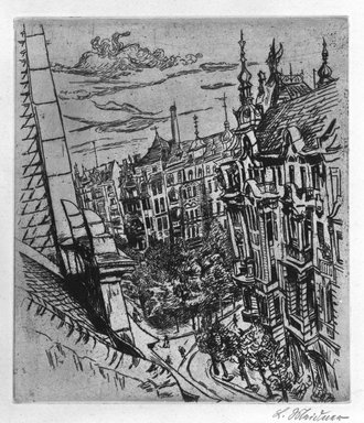 Ludwig Meidner (German, 1884-1966). <em>Street in Berlin - Freidenau</em>, ca. 1920. Etching on wove paper, 15 3/4 x 11 7/8in. (40 x 30.2cm). Brooklyn Museum, Robert A. Levinson Fund, 1989.166. © artist or artist's estate (Photo: Brooklyn Museum, 1989.166_bw.jpg)