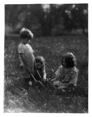 Marguerite E. DeWitt (American, early 20th century). <em>Three Children in the Grass</em>, ca. 1915. Platinum photograph, 9 9/16 x 7 1/2 in. (24.3 x 19.1 cm). Brooklyn Museum, Purchased with funds given in memory of Barbara Sinclair LaSalle, Museum Registrar 1963-1989, 1989.167.2 (Photo: Brooklyn Museum, 1989.167.2_bw.jpg)