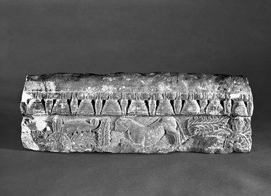 <em>Stupa Railing</em>, ca. 1st century B.C.E. Sandstone, 4 3/4 x 20 3/4 x 5in. (12.1 x 52.7 x 12.7cm). Brooklyn Museum, Gift of Georgia and Michael de Havenon, 1989.176.2. Creative Commons-BY (Photo: Brooklyn Museum, 1989.176.2_bw.jpg)