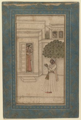 Mughal. <em>Prince and His Beloved in a Garden</em>, ca. 1760. Ink and opaque watercolor on paper, sheet: 12 7/8 x 8 1/2 in.  (32.7 x 21.6 cm). Brooklyn Museum, Gift of Dr. Bertram H. Schaffner, 1989.179.5 (Photo: Brooklyn Museum, 1989.179.5_IMLS_PS3.jpg)