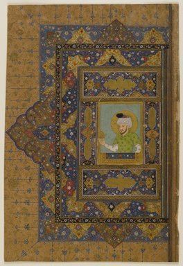 Haidarabad Telinganeh (Golkonda). <em>Illuminated Page</em>, 17th century. Watercolor and gold on paper, 7 5/8 x 4 1/8in. (19.4 x 10.5cm). Brooklyn Museum, Gift of Dr. Bertram H. Schaffner, 1989.179.7a-b (Photo: Brooklyn Museum, 1989.179.7a-b_recto_IMLS_PS4.jpg)
