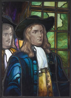 "Frederick Stymetz Lamb (American, 1862-1928). <em>Presentation Window, ""William Penn, Peace Movement, Pennsylvania,""</em> ca. 1905. Glass, lead, wood, 32 1/2 x 24 1/2 x 1 5/8 in. (82.6 x 62.2 x 4.1cm). Brooklyn Museum, Gift of Adrian Lamb in memory of his father, Frederick Stymetz Lamb, 1989.180. Creative Commons-BY (Photo: Brooklyn Museum, 1989.180_PS9.jpg)"