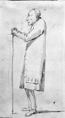 Giovanni Battista Tiepolo (Italian, Venetian,1696-1770). <em>Untitled (Caricature Study)</em>, n.d. Brown ink and graphite on paper, 7 5/16 x 4 1/4 in. (18.6 x 10.8cm). Brooklyn Museum, Anonymous gift from the collection of William P. Miller, Jr., 1989.189 (Photo: Brooklyn Museum, 1989.189_bw.jpg)
