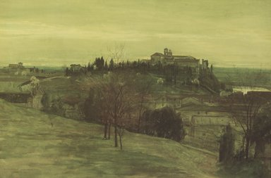 Walter T. Crane (British, 1845-1915). <em>The Aventine from the Palatine</em>, February 19, 1873. Opaque watercolor on wove paper, 11 1/2 x 17 1/4 in. (29.2 x 43.8 cm). Brooklyn Museum, Gift of Karen B. Cohen, 1989.25.2 (Photo: Brooklyn Museum, 1989.25.2.jpg)
