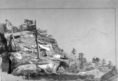 Johann Hermann Carmiencke (American, born Denmark, 1810-1867). <em>View of the Shawangunk Mountains</em>, September 6, 1865. Graphite, wash, and gouache on medium thick cream wove paper, Sheet: 14 9/16 x 21 1/16 in. (37 x 53.5 cm). Brooklyn Museum, Purchased with funds given by Mr. and Mrs. Leonard L. Milberg, 1989.29.1 (Photo: Brooklyn Museum, 1989.29.1_bw.jpg)