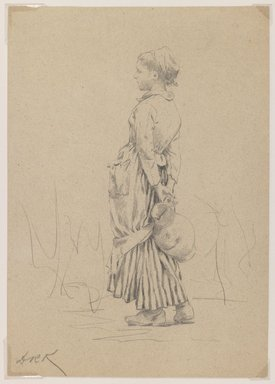 "Daniel Ridgway Knight (American, 1839-1924). <em>Peasant with Water Jug: Study for ""The Well,""</em> ca. 1880. Graphite on brown colored, medium weight, slightly textured wove paper, Sheet: 10 1/8 x 7 1/8 in. (25.7 x 18.1 cm). Brooklyn Museum, Purchased with funds given by Mr. and Mrs. Leonard L. Milberg, 1989.29.2 (Photo: Brooklyn Museum, 1989.29.2_IMLS_PS3.jpg)"