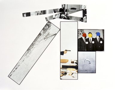 John Baldessari (American, 1931-2020). <em>The Fallen Easel</em>, 1987. Lithograph and Silkscreen on ragcote paper and 5 pieces of photo-sensitized aluminum, Overall: 74 x 95 in. (188 x 241.3 cm). Brooklyn Museum, Gift of IBM Gallery of Science and Art, 1989.42a-i. © artist or artist's estate (Photo: Brooklyn Museum, 1989.42a-i.jpg)