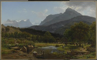 Worthington Whittredge (American, 1820-1910). <em>View near Brunnen on Lake Lucerne</em>, 1857. Oil on canvas, 32 13/16 x 53 9/16 in. (83.3 x 136 cm). Brooklyn Museum, Gift of Mary Stewart Bierstadt, by exchange, 1989.50 (Photo: Brooklyn Museum, 1989.50_PS6.jpg)