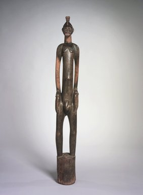 Senufo. <em>Rhythm Pounder (Deble) with Male Figure</em>, 20th century. Wood, 45 1/2 x 6 x 4 3/4 in. (115.6 x 15.3 x 12.0 cm). Brooklyn Museum, The Adolph and Esther D. Gottlieb Collection, 1989.51.11. Creative Commons-BY (Photo: Brooklyn Museum, 1989.51.11.jpg)