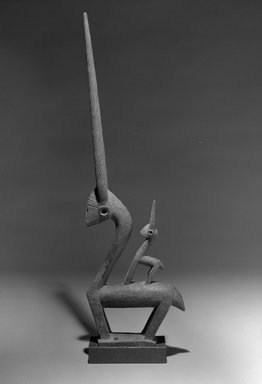 Bamana. <em>Dance Headdress (Ci-wara)</em>, early 20th century. Wood, metal, 31 x 9 1/2 x 3 1/8in. (78.7 x 24.1 x 7.9cm). Brooklyn Museum, The Adolph and Esther D. Gottlieb Collection, 1989.51.13. Creative Commons-BY (Photo: Brooklyn Museum, 1989.51.13_bw.jpg)