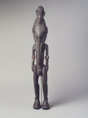 <em>Figure</em>, 20th century. Wood, shell, fiber, 14 x 2 1/4 x 2 1/4 in. (35.6 x 5.7 x 5.7 cm). Brooklyn Museum, The Adolph and Esther D. Gottlieb Collection, 1989.51.42. Creative Commons-BY (Photo: Brooklyn Museum, 1989.51.42.jpg)