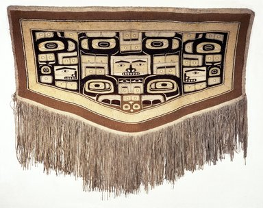 Tlingit, Chilkat. <em>Chilkat Blanket</em>, late 19th-early 20th century. Goat wool, commercial wool, cedar bark, 53 x 68 1/2 in. (134.6 x 174 cm). Brooklyn Museum, The Adolph and Esther D. Gottlieb Collection, 1989.51.63. Creative Commons-BY (Photo: Brooklyn Museum, 1989.51.63_SL1.jpg)