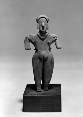 <em>Female Figure</em>. Clay, 7 3/8 x 3 1/2 x 7/8 in. (18.7 x 8.9 x 2.2 cm). Brooklyn Museum, The Adolph and Esther D. Gottlieb Collection, 1989.51.68. Creative Commons-BY (Photo: Brooklyn Museum, 1989.51.68_bw.jpg)