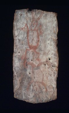 Aboriginal Australian. <em>Bark Painting of Dream Figures</em>, 20th century. Bark, pigment, 26 x 12 1/2 x 2in. (66 x 31.8 x 5.1cm). Brooklyn Museum, The Adolph and Esther D. Gottlieb Collection, 1989.51.8 (Photo: Brooklyn Museum, 1989.51.8.jpg)