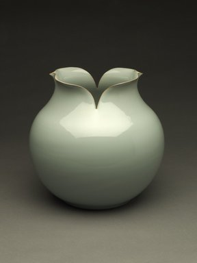 Kawase Shinobu (Japanese, born 1950). <em>Vase with Everted Floriate Rim</em>, 1988. Stoneware, Guan-type celadon glaze, 10 1/2 x 11 in. (26.7 x 27.9 cm). Brooklyn Museum, Purchased with funds given by the Mary Livingston Griggs and Mary Griggs Burke Foundation, 1989.55. Creative Commons-BY (Photo: Brooklyn Museum, 1989.55_PS6.jpg)