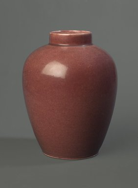 Charles Volkmar (American, 1841-1914). <em>Vase</em>, 1896-1903. Glazed ceramic, 6 1/8 x 5 in. (15.6 x 12.7 cm). Brooklyn Museum, Gift of Dr. Clark S. Marlor in memory of Warren Zerbe (1923-1988), 1989.64. Creative Commons-BY (Photo: Brooklyn Museum, 1989.64_PS6.jpg)